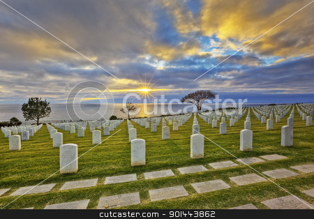 Gone But Not Forgotten stock photo, Cemetery with Pacific Ocean and sunset. by Roy Bartels