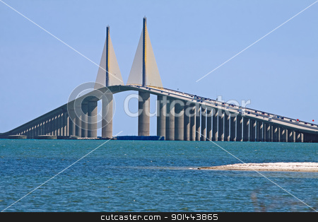 Sunshine Skyway Bridge stock photo, The Bob Graham Sunshine Skyway Bridge spanning Tampa Bay,connecting St.Petersburg and Terra Ceia,Florida. by Delmas Lehman