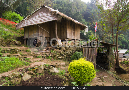 Northern Thailand Countryside stock photo, Traditional wooden house in rural countryside, Thailand, Chiang Mai province by Rognar