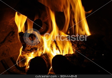 fireplace stock photo, lighted fireplace by kos29