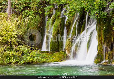 Waterfall stock photo, Scenic waterfall in the forest by Rognar