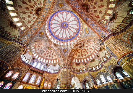 Blue Mosque Interior stock photo, Blue Mosque ( Turkish: Sultan Ahmet Cami) interior architecture in Istanbul, Turkey by Rognar