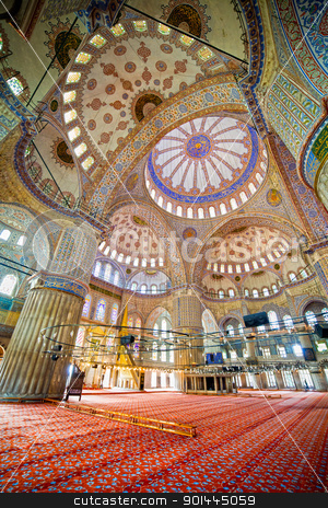 Blue Mosque Interior stock photo, Blue Mosque ( Turkish: Sultan Ahmet Cami) interior Ottoman architecture in Istanbul, Turkey by Rognar