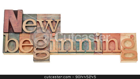 new beginning stock photo, new beginning - isolated text in vintage wood letterpress printing blocks stained by color inks by Marek Uliasz