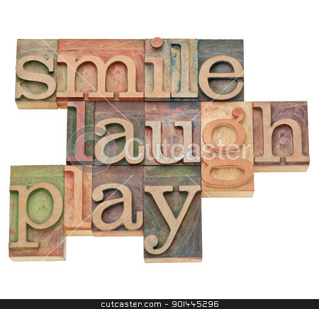 smile, laugh, play word abstract stock photo, smile, laugh, play  - isolated word abstract in vintage wood letterpress printing blocks by Marek Uliasz