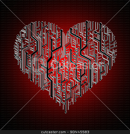 Circuit board in Heart shape stock photo, Circuit board in Heart shape, Heart healthy concept by Patipat Rintharasri