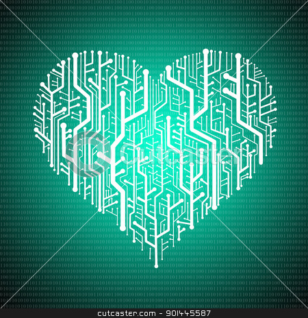 Circuit board in Heart shape with digit background stock photo, Circuit board in Heart shape, Technology background  by Patipat Rintharasri