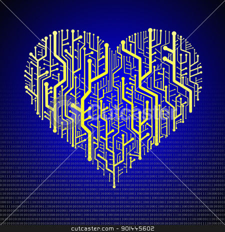 Circuit board in Heart shape stock photo, Circuit board in Heart shape, Technology background  by Patipat Rintharasri