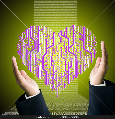 Business hand carry the circuit board in heart shape with digit background stock photo, Business hand carry the circuit board in heart shape, Technology concept by Patipat Rintharasri