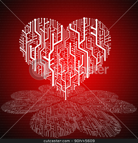Circuit board in Heart shape with pattern on ground stock photo, Circuit board in Heart shape with pattern on ground,  Technology background  by Patipat Rintharasri