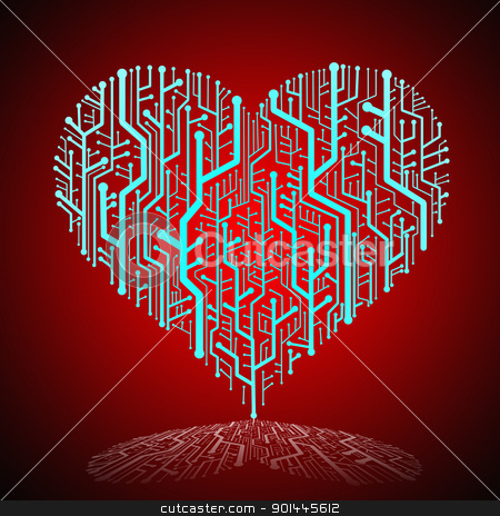 Circuit board in Heart shape with shadow on ground stock photo, Circuit board in Heart shape, Technology background  by pixbox77