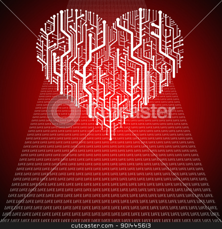 Circuit board in Heart shape, Technology background  stock photo, Circuit board in Heart shape, Technology background  by Patipat Rintharasri