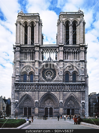 Notre Dame de Paris cathedral  stock photo, Notre Dame de Paris cathedral photographed before cleaning by Christian Delbert