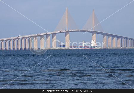 Sunshine Skyway Bridge stock photo, A cargo ship passing under the Bob Graham Sunshine Skyway Bridge.This bridge spans Tampa Bay,connecting St.Petersburg and Terra Ceia,Florida. by Delmas Lehman