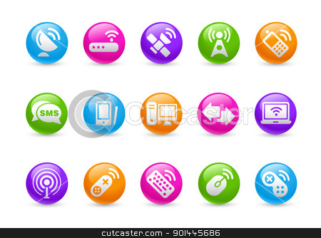 Wireless & Communications // Rainbow Series  stock vector clipart, Professional icons for your website or presentation. -eps8 file format- by Diego Alies