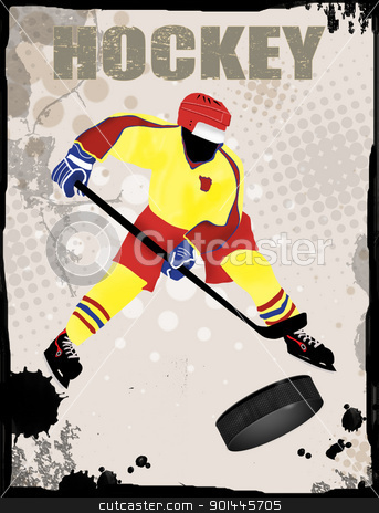 Hockey grunge poster stock vector clipart, Action player, on grunge background, vector illustration.Hockey team grunge poster by radubalint