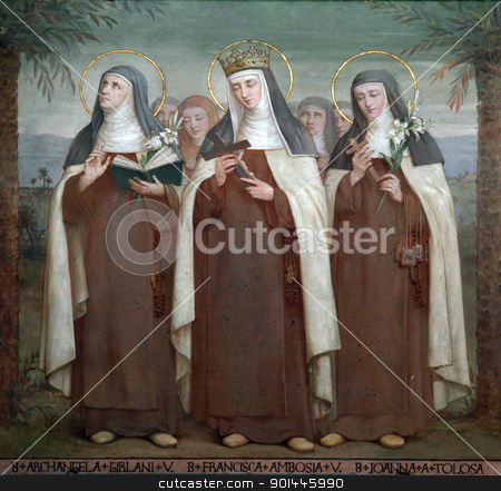 Carmelite Saints stock photo, Bl. Archangela Girlani, Frances d'Amboise and Joan of Toulouse, Carmelite Saints, The Church Stella Maris, Haifa, Israel by Zvonimir Atletic