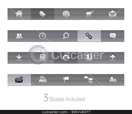 Web Site & Internet // Gelbar Series stock vector clipart, +++ The vector file includes 3 buttons states in different layers. +++  by Diego Alies