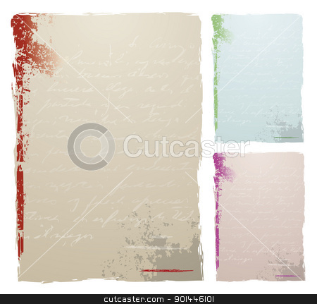 Antique Letter stock vector clipart, Grunge background with text in three color options by Diego Alies