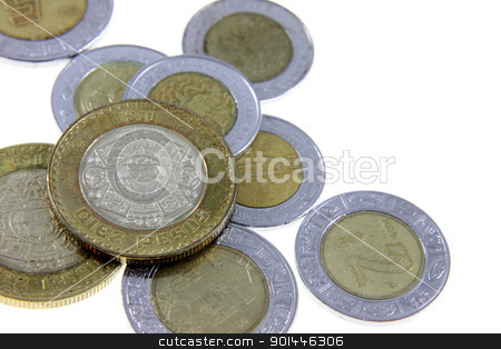 Mexican Pesos stock photo, A close-up shot of a bunch of Mexican coins.  by Chris Hill