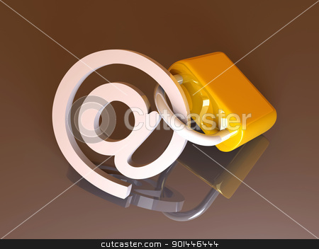 Secure Email stock photo, 3d rendered Illustration. Locked email.