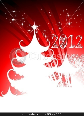2012 Happy New Year greeting card with Christmas tree in red bac stock vector clipart, 2012 Happy New Year greeting card with Christmas tree, stars, snowflakes, white color in red background. by Abdul Qaiyoom