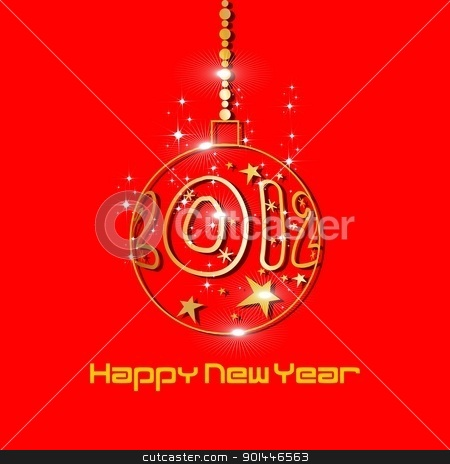2012 new year greeting card with golden balls & shiny stars in r stock vector clipart, 2012 new year greeting card with golden balls & shiny stars, yellow color in red background. by Abdul Qaiyoom