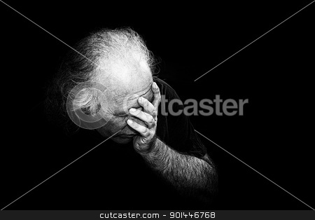 man holding face in dispair stock photo, Gritty black and white image of older man holding head in despair, grain added to make more dramatic. by Stephen Orsillo