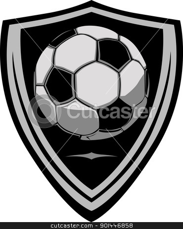 Soccer Template with Shield stock vector clipart, Graphic soccer ball image template with shield by chromaco