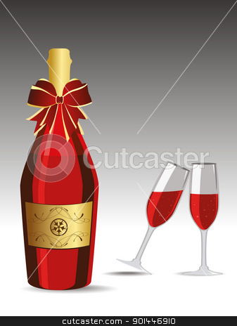 Champagne glasses for New Year Celebration.  stock vector clipart, Champagne bottle and Glasses vector illustration for new year by Abdul Qaiyoom
