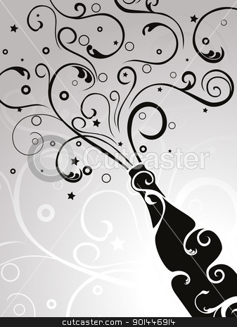 elegant design vector  stock vector clipart, seamless grey floral background with champagne explosion with floral by Abdul Qaiyoom