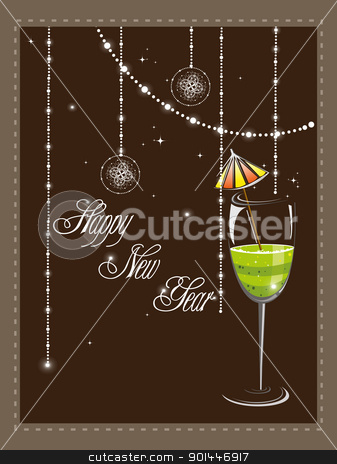vector elagant design greeting card  stock vector clipart, vector elagant design greeting card for happy new year by Abdul Qaiyoom