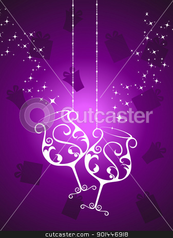 vector hanging champagne glass background stock vector clipart, seamless gifts, twinkle star background with hanging champagne glass vector for celebration by Abdul Qaiyoom