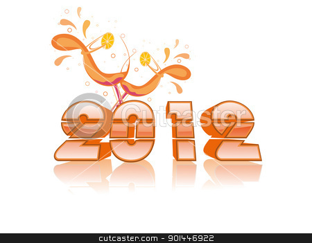 glossy 2012 text with cocktail glass vector for 2012 stock vector clipart, white background with glossy 2012 text with cocktail glass for new year celebration by Abdul Qaiyoom