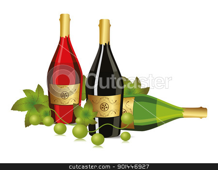 background with champagne bottle and grapevine stock vector clipart, white background with champagne bottle and grapevine vector for new year and other events by Abdul Qaiyoom