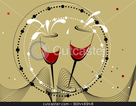  wave and circle background for new year celebration stock vector clipart, abstract wave, dots background with set of champange glass by Abdul Qaiyoom