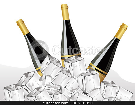 set of three champagne bottle,ice cube for new year  stock vector clipart, set of three champange bottle with ice cube by Abdul Qaiyoom