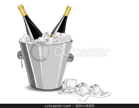 vector illustration with champange bottle,ice cube bucket stock vector clipart, champange bottle,ice cube bucket for new year celebration by Abdul Qaiyoom