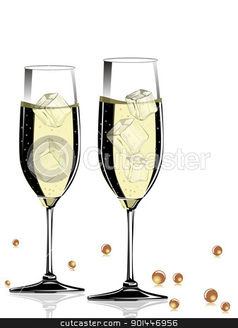 vector champange glass with shiny ball stock vector clipart, champange glass on white background by Abdul Qaiyoom