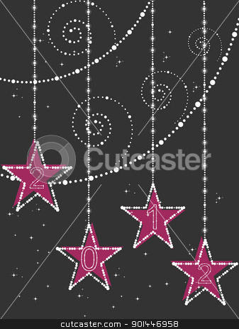 creative design background vector for 2012 stock vector clipart, abstract twinkle star, artwork background with decorated hanging star for happy new year 2012 by Abdul Qaiyoom
