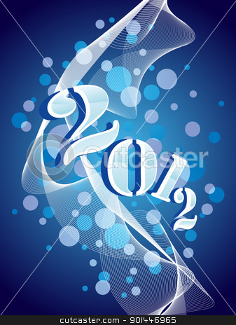 vector greeting for new year celebration stock vector clipart, abstract bubbles, wave background with 2012 concept greeting card for new year by Abdul Qaiyoom