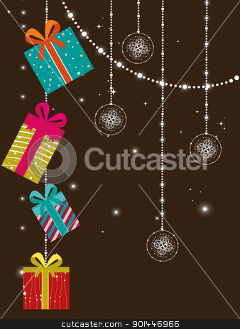 creative artwork design greeting card for new year stock vector clipart, abstract twinkle star, hanging decorative artwork concept greeting card for new year by Abdul Qaiyoom