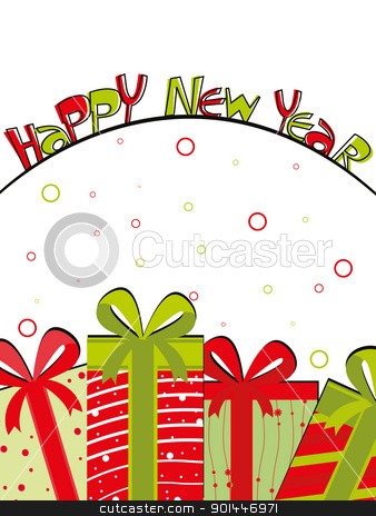 creative & colorful art work design for new year celebration stock vector clipart, white circle background with gifts theme greeting card for colorful happy new year  by Abdul Qaiyoom
