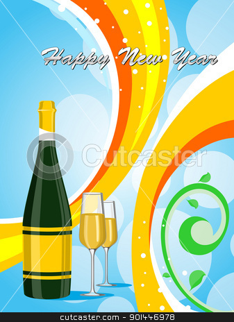  colorful background with champange bottle, glass stock vector clipart, blue bubbles background ,colorful strips with champange bottle,glass by Abdul Qaiyoom