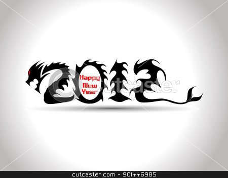 vector 2012 typography stock vector clipart, abstract grey background with 2012 dragon by Abdul Qaiyoom