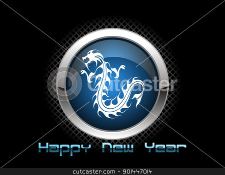 vector isolated dragon icon for 2012 stock vector clipart, abstract black background with isolated dragon icon for 2012 by Abdul Qaiyoom