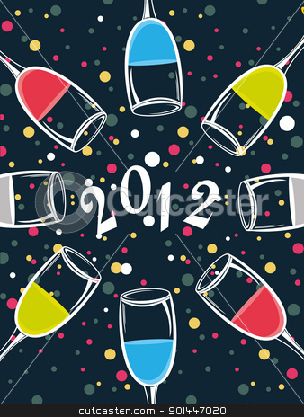 colorful champange glass theme vector for 2012 stock vector clipart, abstract blue background with colorful dots, champange glass for 2012 happy new year by Abdul Qaiyoom