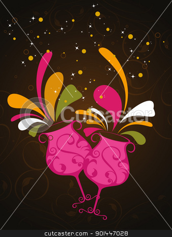 floral background with artistic champange glass stock vector clipart, abstract seamless floral background with stylish champange glass  by Abdul Qaiyoom