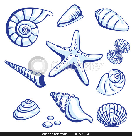 Sea Set stock photo, Sea Set From Starfishes and Cockleshells. Vector illustration on white background. by dvarg