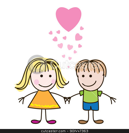 Boy and girl with hearts stock photo, Vector illustration of cute Valentine's Day heart with boy and girl by dvarg
